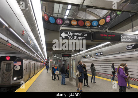 New 72nd Street 2nd Avenue Q Train Station on the Upper East Side of Manhattan. - Stock Photo