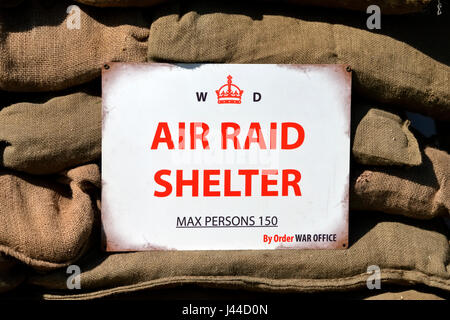 A World War 2 Air Raid Shelter Sign at the 2017 Westbury Transport and Vintage Gathering, Bratton, Wiltshire, United - Stock Photo