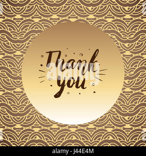 Thank You. Hand drawn lettering. Can be used for card. Illustration. - Stock Photo