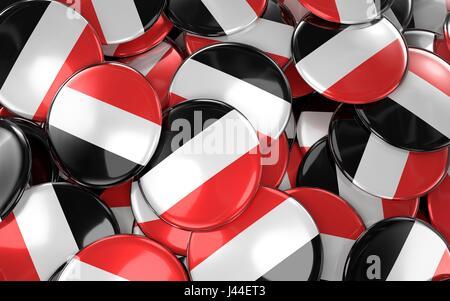 Yemen Badges Background - Pile of Yemeni Flag Buttons. 3D Rendering - Stock Photo