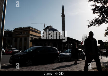 Daily life in the streets of the capital Tirana. Albania has a population of just over 3 million, only one third - Stock Photo