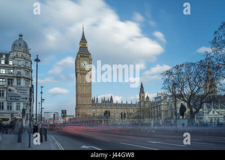 Views of the government buildings of the Houses of Parliament in London taken during the daytime in the springtime - Stock Photo