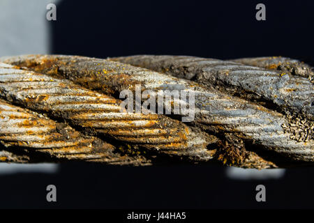 Thick steel rope close up. Bridge fence element. Detailed view. The surface of the steel cable is covered with rust - Stock Photo