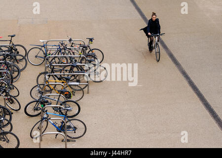 A Bicycle Parked At A Bike Rack Next To The Street In