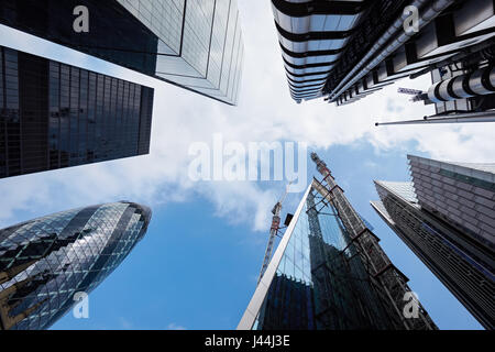 30 St Mary Axe The Gherkin, 122 Leadenhall Street The Cheesegrater, Lloyd's building, St. Helen's and The Scalpel - Stock Photo
