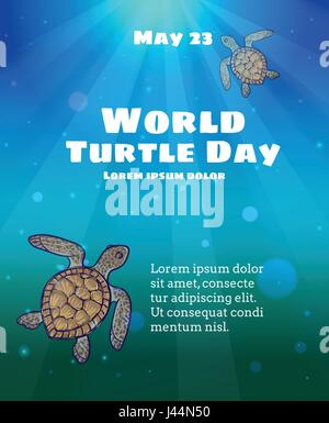 World Turtle Day, May 23. Underwater sea scene with sun light shining through water surface and two marine turtles - Stock Photo