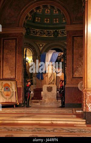 General Don José de San Martín tomb or mausoleum, in Buenos Aires Metropolitan Cathedral. - Stock Photo