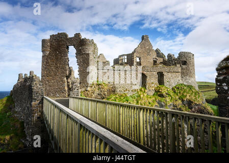 Dunluce Castle, on the Causeway Coast of County Antrim in Northern Ireland - Stock Photo