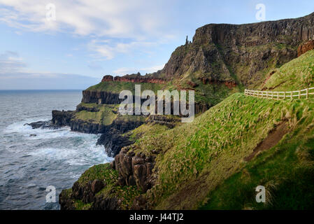 Dramatic coastline at Giant's Causeway on the Causeway Coast bear Bushmills in Moyle Country Antrim in Northern - Stock Photo