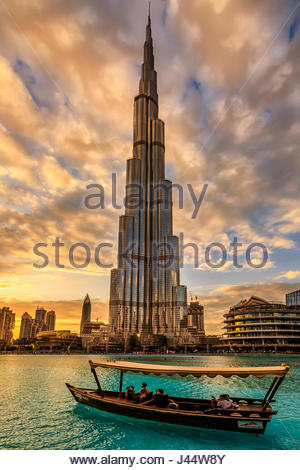 A view of Burj Khalifa during sunset. - Stock Photo