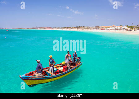 CAPE VERDE SAL Fishermen bringing their catch of fish in fishing boats to the pier at Santa Maria, Sal island , - Stock Photo