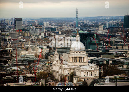Rooftop view of London with St Paul's Cathedral and the Post Office Tower - Stock Photo