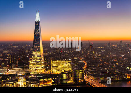 London skyline shard london night The shard london at night sunset sky london skyline night Great Britain United - Stock Photo