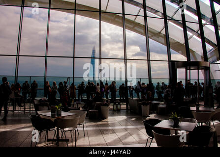 view of the shard from cafe of The Walkie-Talkie building and 20 Gracechurch Street, City of London EC3 - Stock Photo
