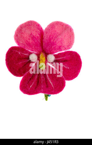 a viola tricolor flower image made from wool - Stock Photo