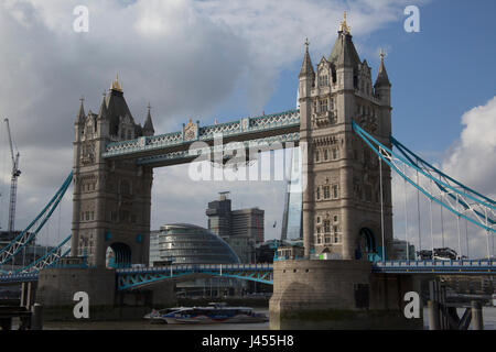 Close-up of Tower Bridge spanning the River Thames, London, UK - Stock Photo