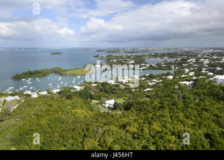 View over Great Sound, Bermuda Island, a British island territory in the North Atlantic Ocean. - Stock Photo