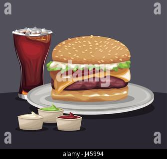 delicious burger soda cold sauces fast food eating concept - Stock Photo