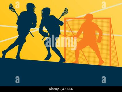 Lacrosse Player In Protective Gear Teamwork Sport Vector Background