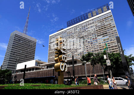 The totem of a bank in the Paulista avenue – financial centre of Sao Paulo city - Brazil - Stock Photo