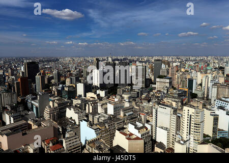 Sao Paulo downtown view from the rooftop terrace of Italia building – Sao Paulo - Brazil - Stock Photo