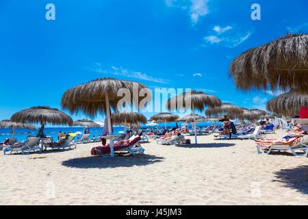 Parasols at Bahia Del Duque Beach in Tenerife, Spain - Stock Photo