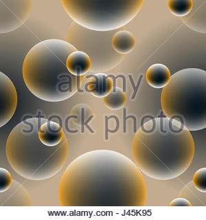 golden bubbles or eggs floating seamless tile - Stock Photo