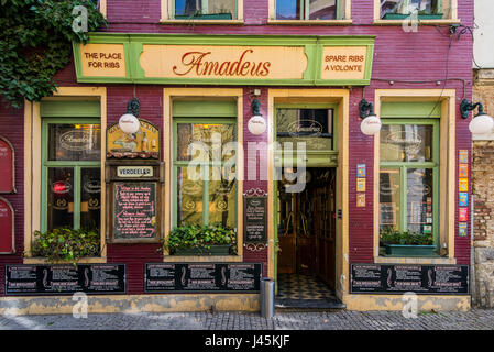 Restaurant in the picturesque Patershol district, Ghent, East Flanders, Belgium - Stock Photo
