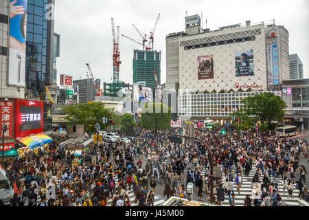 Shibuya Crossing aerial - Stock Photo