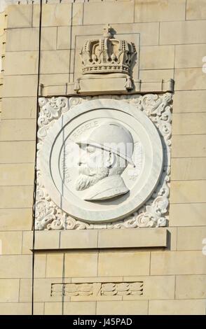 Detail of The Arch of Triumph (Arcul de Triumf) from Bucharest Romania, King Ferdinand. - Stock Photo