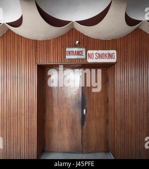 Foyer on upper level. Neelam Cinema Chandigarh, Chandigarh, India. Architect: Le Corbusier, 1954. - Stock Photo