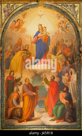 TURIN, ITALY - MARCH 15, 2017: The painting of Madonna with the Child on the mine altar in church Basilica Maria - Stock Photo