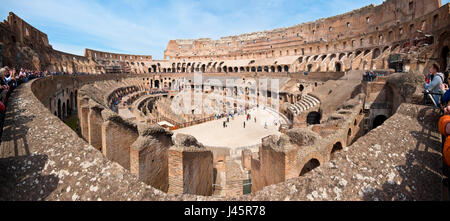 The Colosseum or Coliseum also known as the Flavian Amphitheatre or Colosseo, is an oval amphitheatre in the centre - Stock Photo