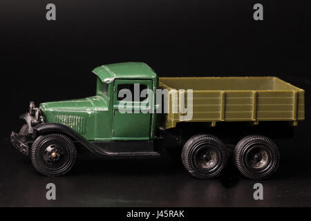 Truck vintage children's toy  black background macro shot - Stock Photo