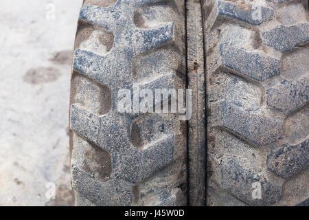 Tread from the excavator wheel. - Stock Photo