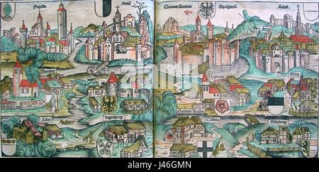 Nuremberg chronicles   Kingdoms of the Holy Roman Empire of the German Nation (CLXXXIIIIv   CLXXXVr) - Stock Photo