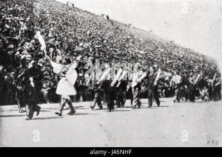Parade of the winners of the 1896 Summer Olympics - Stock Photo