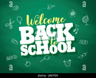 Back to school vector banner design with 3d title and drawings in green chalkboard texture background. Vector illustration. - Stock Photo
