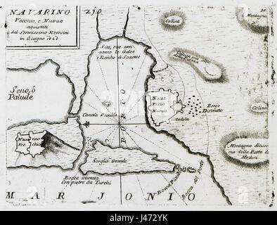 Navarino Vecchio, e Nuovo aquistati dal Serenissimo Morosini in Giugno 1680   Coronelli Vincenzo   1686 - Stock Photo