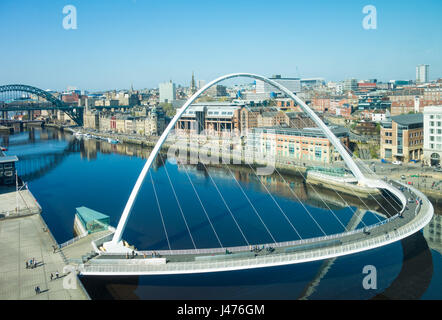 Newcastle upon Tyne. UK. View over the river Tyne, Newcastle Quayside, Gateshead Millennium and Tyne bridges towards - Stock Photo