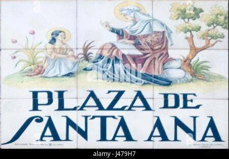 Plaza De Santa Ana. Ceramic street sign in Madrid, Spain - Stock Photo