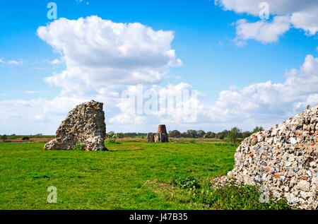 A view of the ruins of St Benet's Abbey and Drainage Mill from the east on the Norfolk Broads near Ludham, Norfolk, - Stock Photo