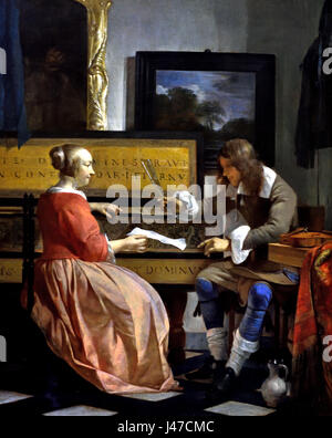 A Man and a Woman seated by a Virginal 1665 Gabriel METSU 1629 - 1667 Dutch The Netherlands - Stock Photo