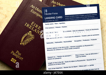Brexit, EU, Ireland, Irish, Passport, UK, United Kingdom, Landing Card, Border Force, Immigration, Migration, Hard - Stock Photo