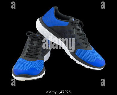 Pair of blue sport shoes on black background. Sport shoes isolated. File contains a clipping path. - Stock Photo