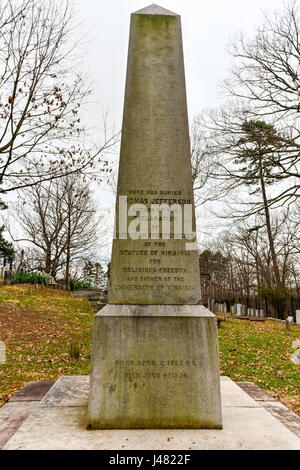 The grave of Thomas Jefferson on the grounds of his estate, Monticello, in Charlottesville, Virginia. - Stock Photo