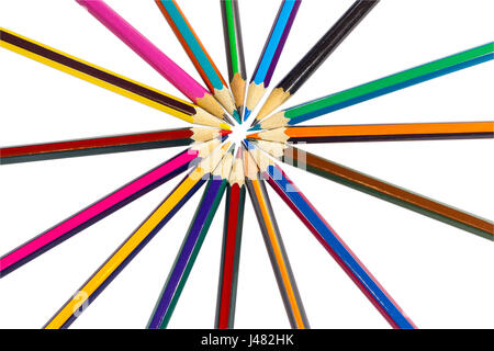 Circle lined with colored pencils like sun rays, isolated on white background - Stock Photo