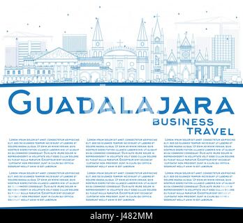 Outline Guadalajara Skyline with Blue Buildings and Copy Space. Vector Illustration. Business Travel and Tourism - Stock Photo