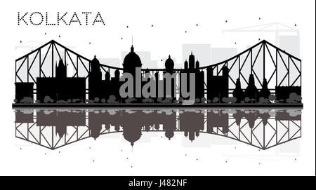Kolkata City skyline black and white silhouette with reflections. Vector illustration. Simple flat concept for tourism - Stock Photo