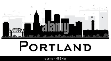 Portland City skyline black and white silhouette. Vector illustration. Simple flat concept for tourism presentation, - Stock Photo